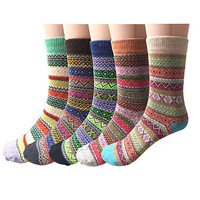 Pack of 5 Womens Vintage Style Thick Wool Warm Autumn Winter Crew Socks Comfortable Thicken Multicolor Socks chaussette femme