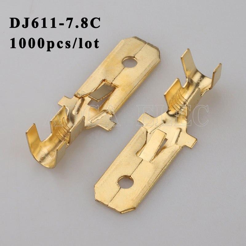 DJ611-7.8C 1000PCS plug terminal Male female wire connector Plugs socket Fuse box Wire harness Soft Jacket car terminal plug