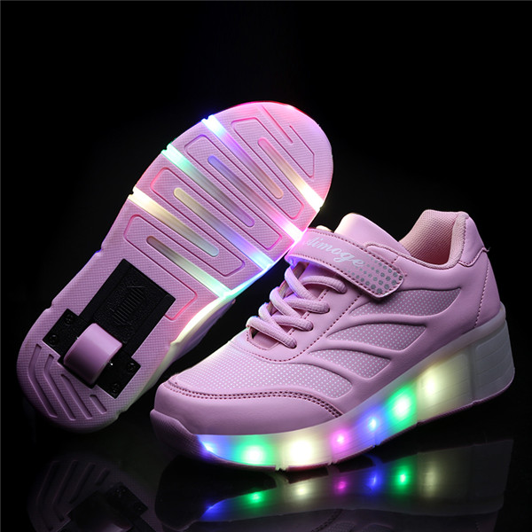 Cheap Kids Glowing Sneakers  With Wheels Led Light Up Roller Skates Sport Luminous Lighted Shoes For Kids Boys Pink Black Pink