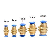 10PCS PM4/6/8/10/12mm Air Pneumatic Straight Bulkhead Hose Tube One Touch Push Into Gas Connector Quick Fitting Connector 5pcs pg4 6 4 8 6 8 6 10 8 10 8 12 10 12mm straight union reducer fitting pneumatic push to connect air connector socket plug