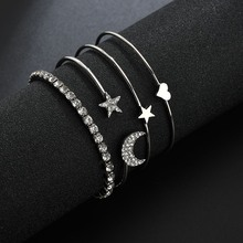 4PCS New Fashion Ruili Wind Inlaid Rhinestone Star Moon Bracelet Creative Pentagram Peach moon star rhinestone studded bracelet watch