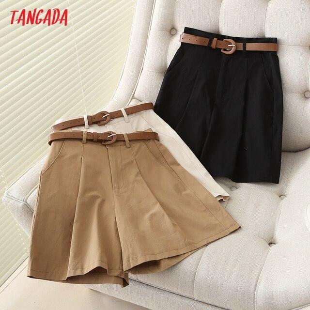 Tangada 2021 Summer New Women Elegant Solid Cotton Shorts with Belt Pockets OL Shorts Pantalones 7H02 1