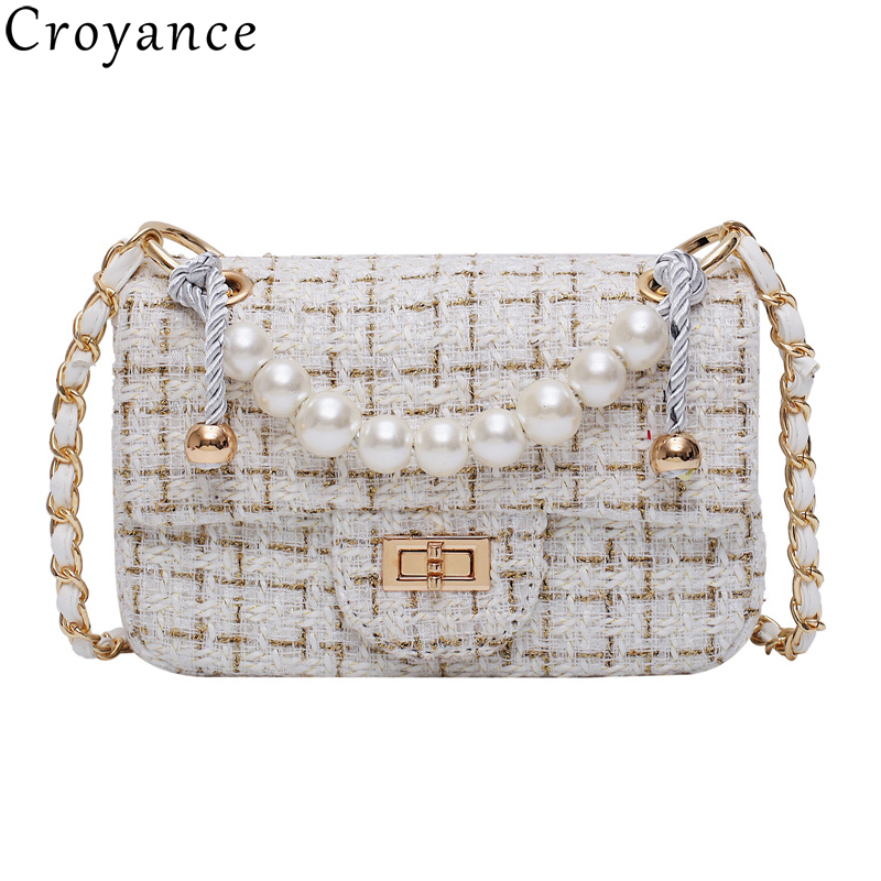 Croyance 2019 New Winter Women Handbags Woolen Shoulder Bag Chain Crossbody Messenger Bag Imitation Pearls Purse Elegant