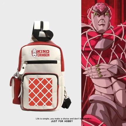 Anime JoJo's Bizarre Adventure King Crimson Cosplay Backpack Teens Canvas Shoulder Bags Large Capacity Crossbody Bag Knapsack 2