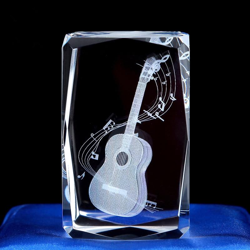 Graduation Souvenir Guitar Saxophone Bagpiper K9 Crystal Sculpture 3D Laser Musical Instrument Home Decoration Accessories