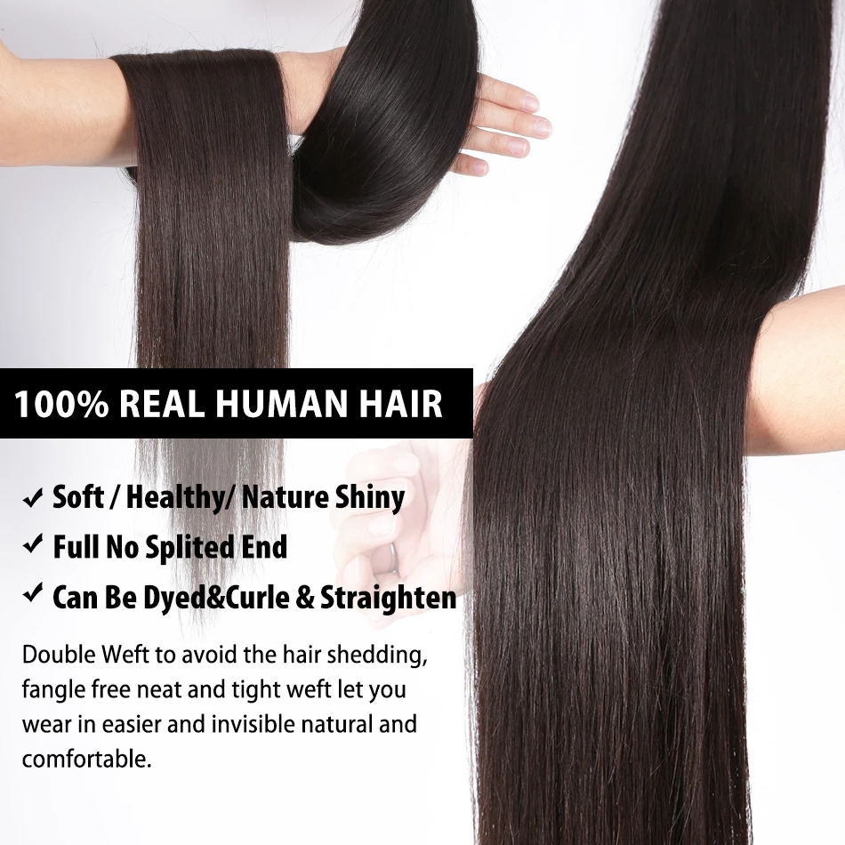 30 32 34 36 inch Indian Hair Straight Hair  Bundles 100% Natural  1 3 4 Bundles Double Wefts Thick  Hair 3