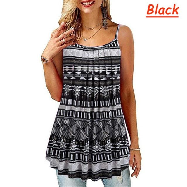 Plus Size S-6 XL Ladies Shirt Women Summer Sleeveless Floral Print Casual Loose Female T shirt Tops 5