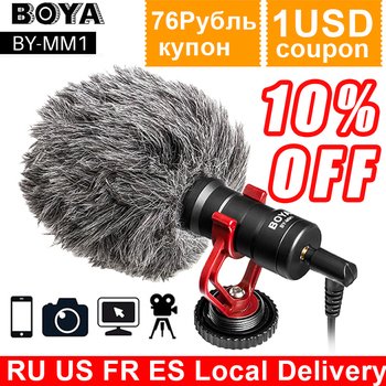 BOYA BY-MM1 Shotgun Video Microphone Universal Recording Microphone Mic for DSLR Camera iPhone Android Smartphones Mac Tablet boya by m1 m1dm by mm1 dual omni directional lavalier microphone short gun video mic for canon nikon iphone smartphones camera