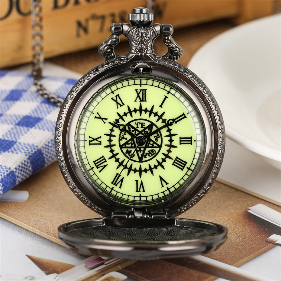 New Arrival 2019 Luminous Japanese Animation Kuroshitsuji Theme Quartz Pocket Watch Black Pendant Necklace Watch Gifts For Kids