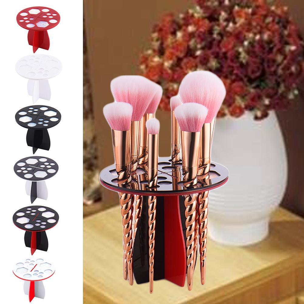 Round Acrylic Brush Holder Ladies Dressing Table Makeup Brush Drying Rack Portable Acrylic Brush Holder Storage Supplies