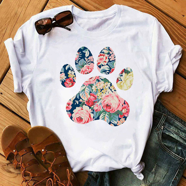 Women's Colorful Puppy Paw T-Shirts 3