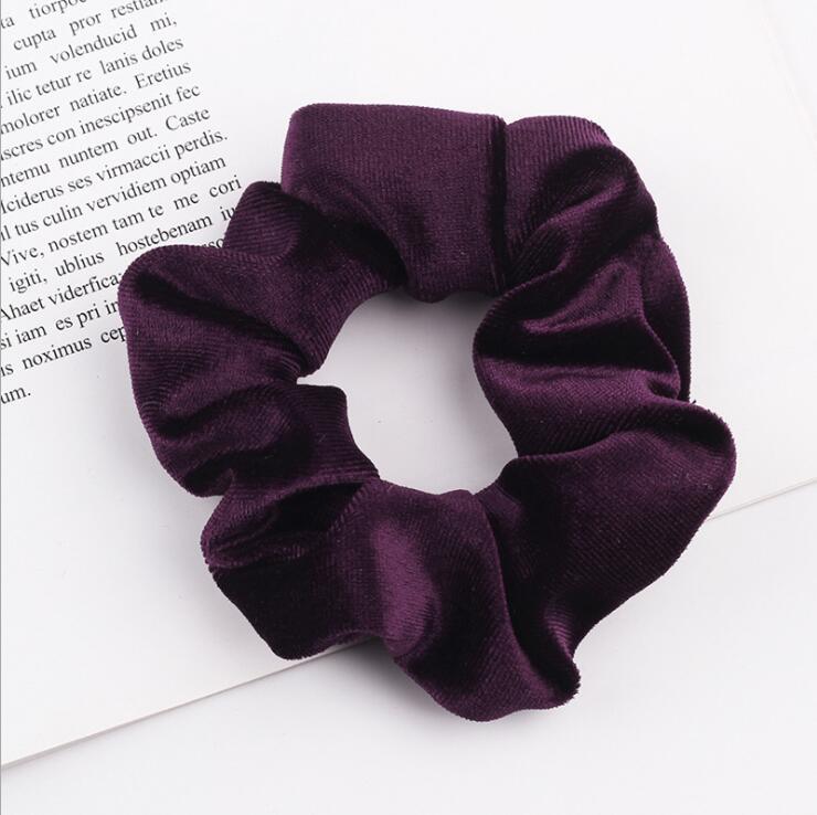 33 цвета, корейские Бархатные резинки для волос, эластичные резинки для волос, одноцветные женские головные уборы для девушек, заколки для волос с конским хвостом, аксессуары для волос - Цвет: Deep Purple