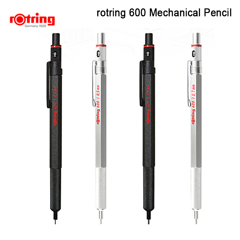 Rotring 600 0.5mm/0.7mm Mechanical Pencil Black/silver Metal Automatic Pencil  1piece