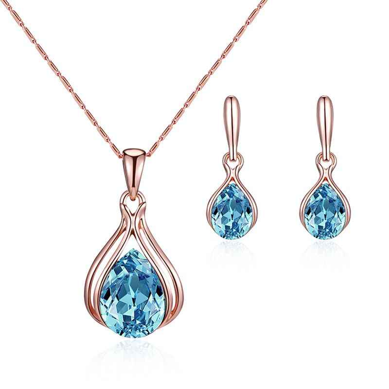 En gros 2019 nouveau CZ pierre Brindal ensemble de bijoux bleu strass Waterdrop boucles d'oreilles collier ensemble de bijoux de mariage cadeau pour les femmes
