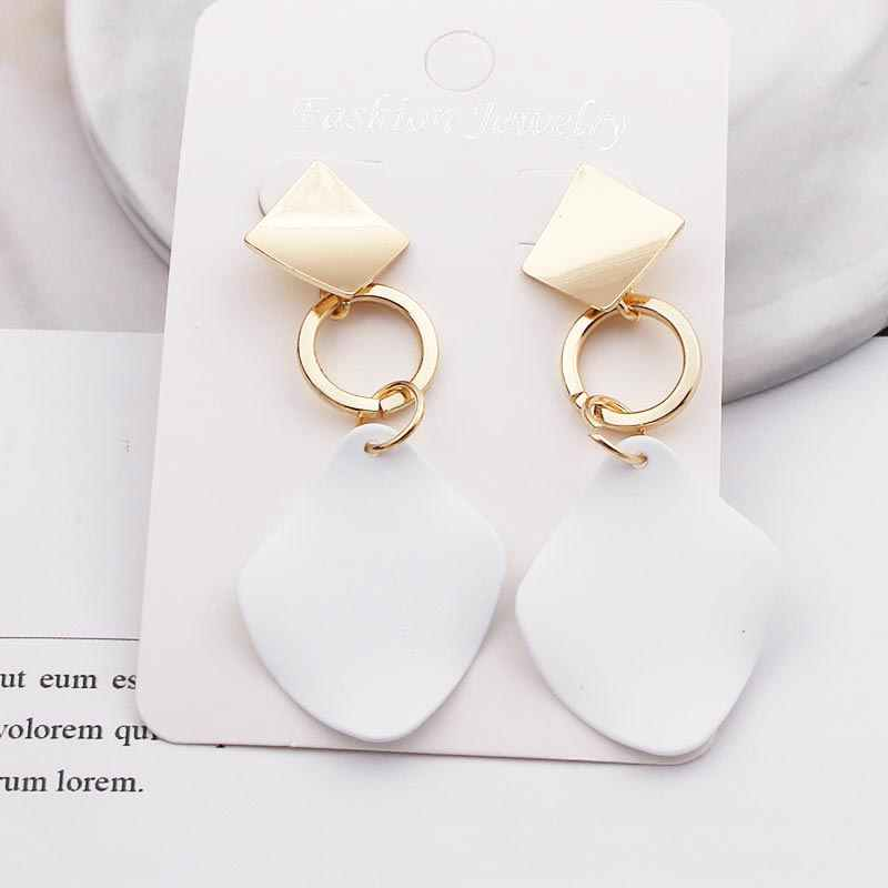 Earrings Statement Gold Big Irregular Geometric Flower Earrings for Women Female Exaggerated Personality Earring Red Green White