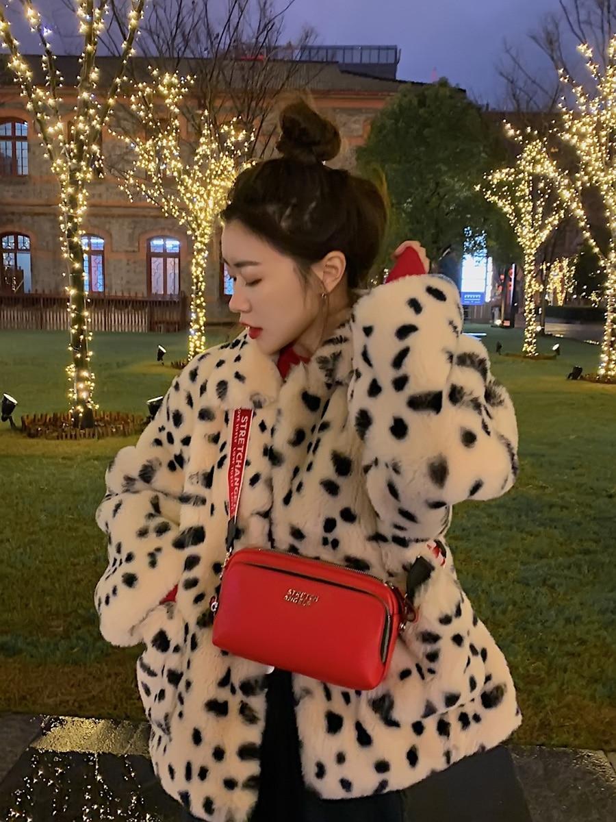 Hc8a602d626eb47c381d46589bb0a63daG Plush jacket women winter short 2021 new Korean version of loose lamb wool faux fur leopard print fur coat women winter