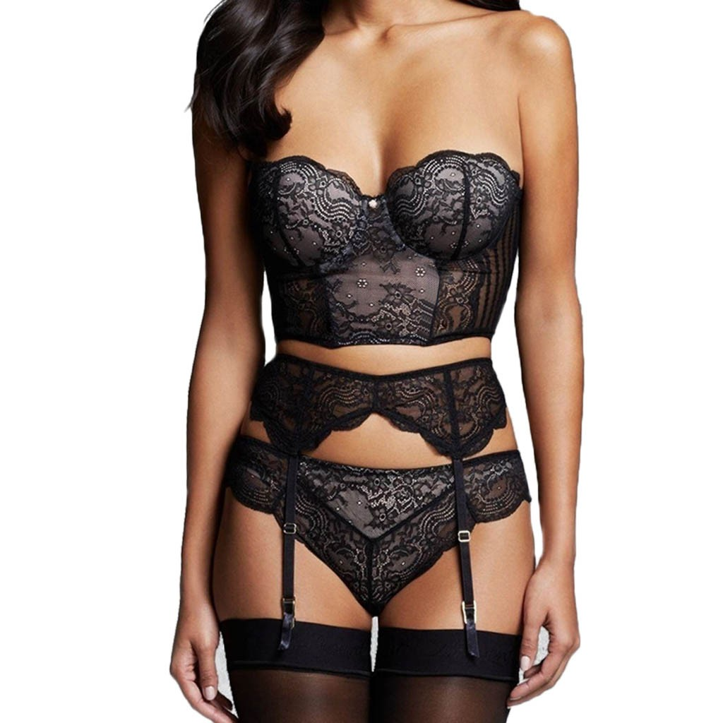 Valentine's Day Bra Sets Lace Lingerie Set Wireless Bra With Garter Belt G-string Underwear For Women Dropshipping ##5