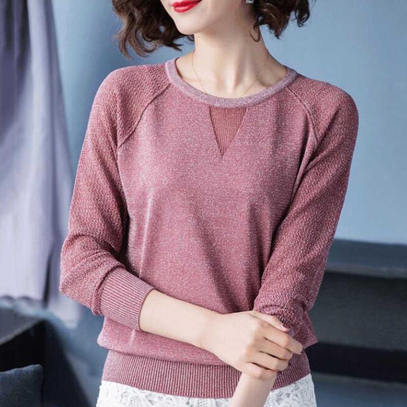 Frauen Pullover Frühling Herbst Grundlegende Bluse Shirts Damen Langarm Casual Tops Pullover Neue Ankunft Elastische Frauen