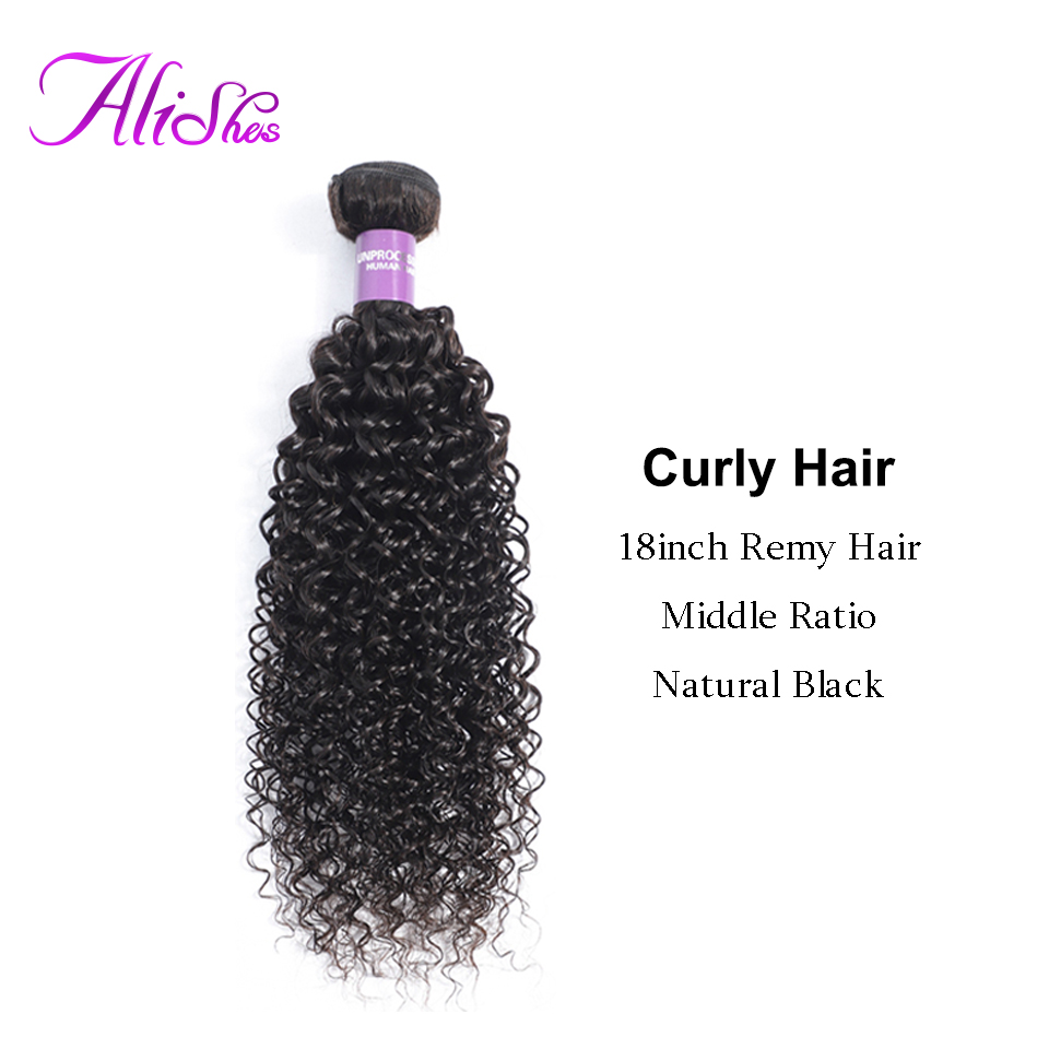 Alishes Hair Mongolian Kinky Curly Bundles Afro Remy Human Hair Weave 1 3 4 Bundles Extension 10-26inch Natural Black 100g/pc