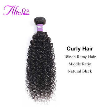 Alishes Hair Mongolian Kinky Curly Bundles Afro Remy Human Hair Weave 1 3 4 Bundles Extension 10-26inch Natural Black 100g/pc - Category 🛒 All Category