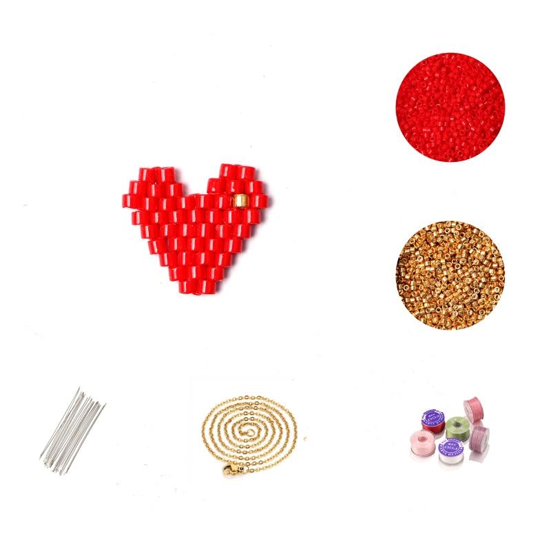FAIRYWOO Handmade DIY Necklace Miyuki Beaded Jewelry Sweet Heart Necklace Kit For Women Cute DIY Accessories Wholesale Lots Bulk