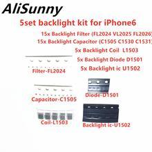 Alisunny 5set (45 pcs) 백라이트 세트 솔루션 키트 ic for iphone 6 plus u1502 코일 l1503 다이오드 d1501 커패시터 c1530 필터 fl2024