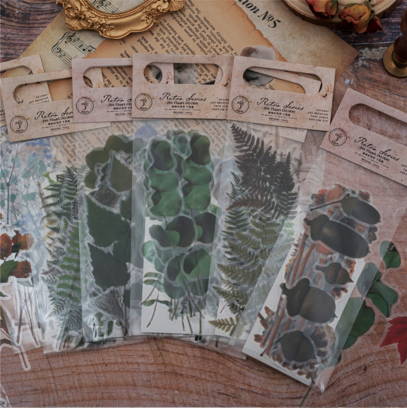 20pcs/lot Retro Stationery Stickers Dried Flower Travel Diary Planner Decorative Mobile Stickers Scrapbooking DIY Craft Stickers