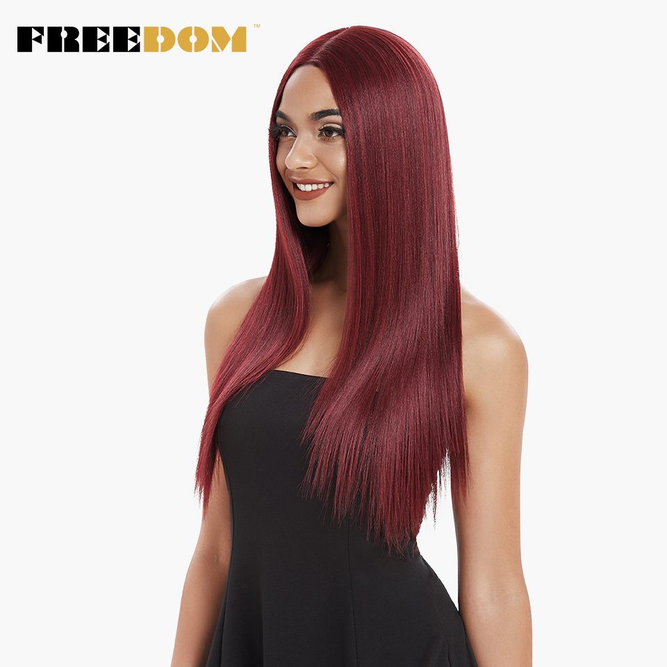 FREEDOM Middle Part High Temperature Fiber Red Black 26 Inch Long  Straight Natural Hairline Synthetic Lace Front Wigs For Women