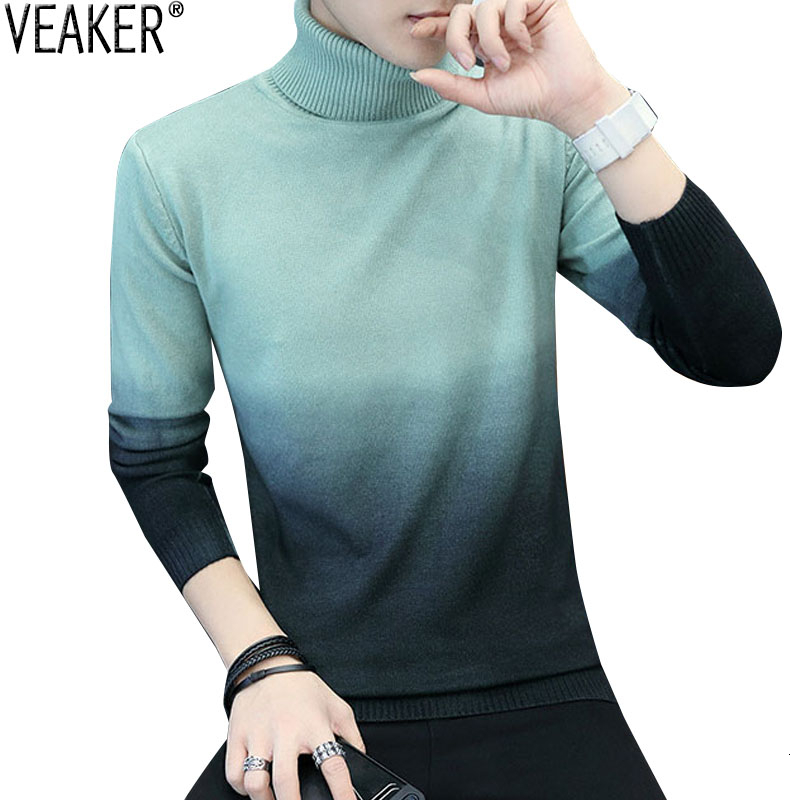 2019 Men's Turtleneck Sweater Pullovers Male Autumn Winter Slim Fit Knitted Sweaters Casual Gradient Patchwork Sweater Knitwear