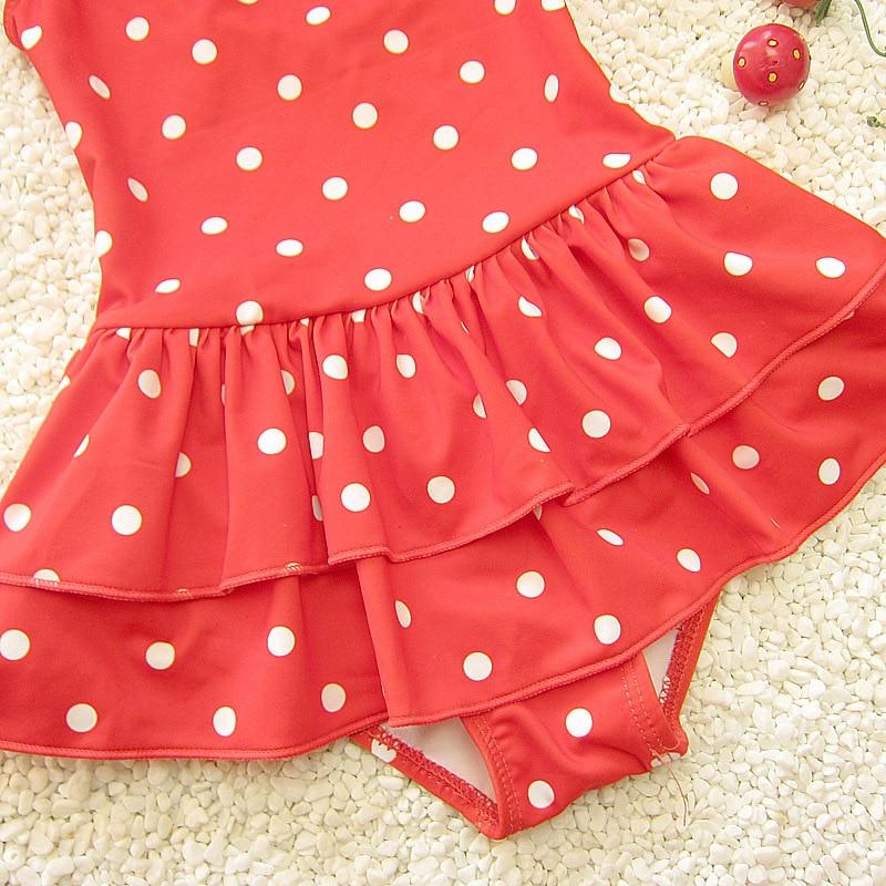 Korean-style Cute Sweet Polka Dot Large Children One-piece Triangular Cake Layer Skirt Baby Girls Swimsuit