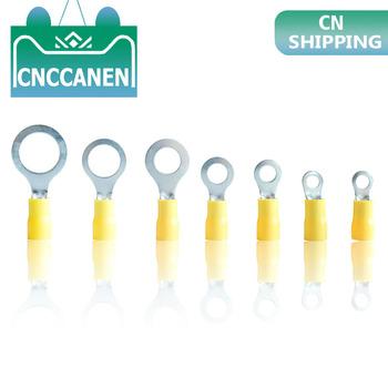 10 25 50 100 sztuk RV5 5-3 5 4 5 6 8 10 12 żółty pierścień 4-6MM izolowane złącze przewodu elektryczne złącze zaciskowe kabel drutu 12-10AWG tanie i dobre opinie Splice RV5 5-3 5 RVS5 5-4 RV5 5-5 RV5 5-6 RV5 5-8 RV5 5-10 RV5 5-12