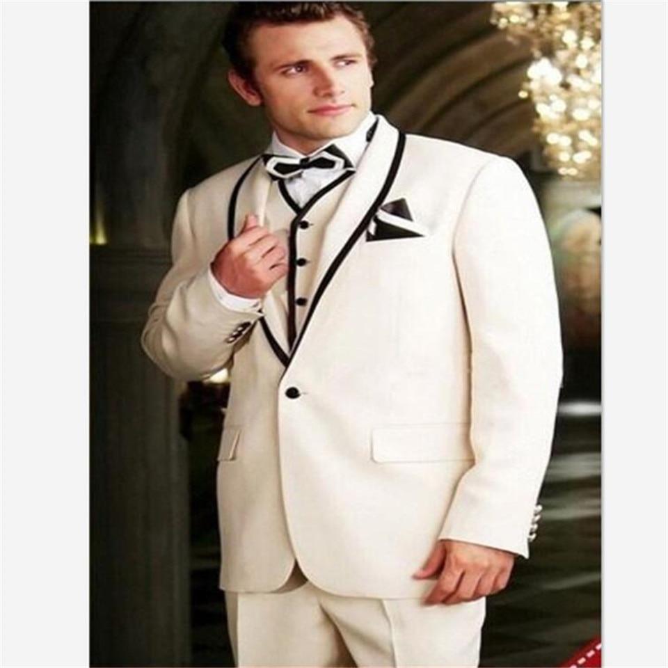 New Classic Men's Suit Smolking Noivo Terno Slim Fit Easculino Evening Suits For Men Beige Groom Tuxedo Wedding Groomsman Peaked