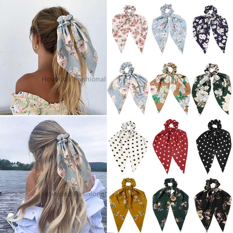 Hair-Bands Ponytail-Holder Scrunchies Bowknot Elastic Bohemian-Print Girls Women