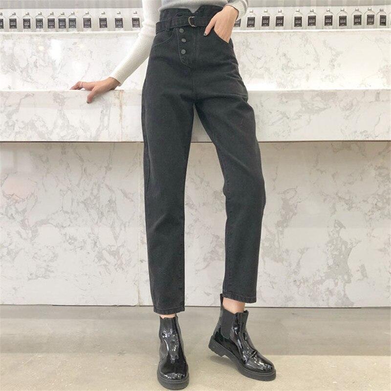 Jean taille haute avec ceinture personnalité Chic sarouel Femme jean noir Femme Vaqueros Mujer Calca jean Feminina