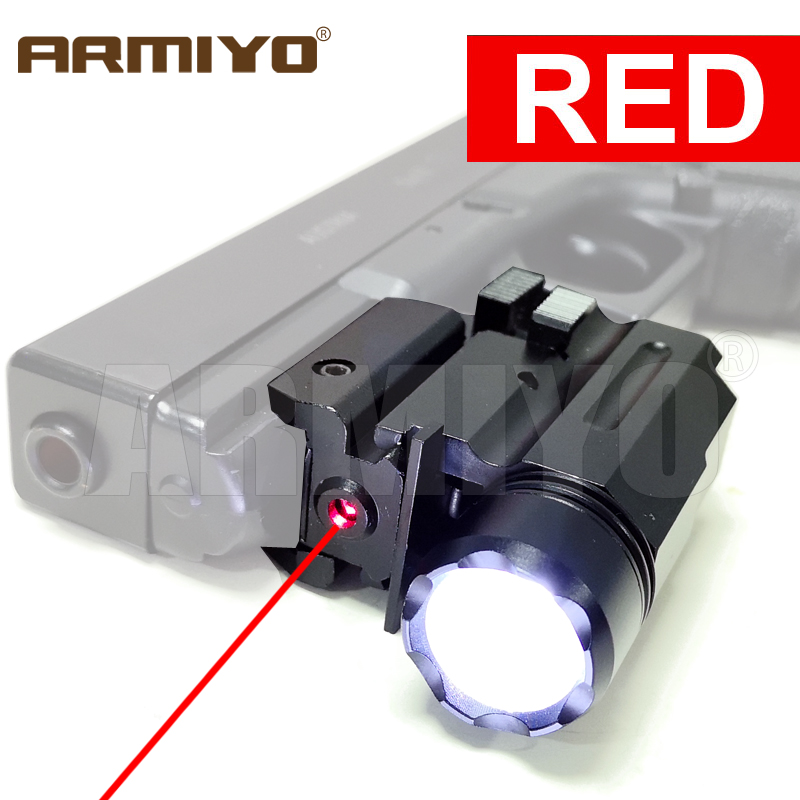 Armiyo 635-655nm Pistol Down Hang Red Dot Laser Sight Quick Detach 300 Lumens Gun Torch Light Handgun LED Flashlight 3 Modes Low