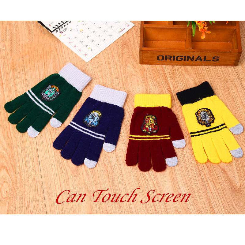 HP Movie Cosplay Gloves Hogwart Four House Gryffindor Touch Screen Gloves Toys For Christmas Gifts HP Potter Cos Party Show Toys