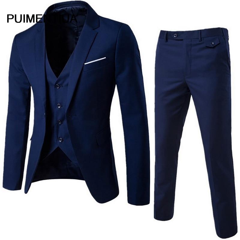 Puimentiua Men Male Suits Blazers Business Formal Dress Blazer Wedding Office Pants Set Costume Homme 3 Pieces Slim Suit 2020