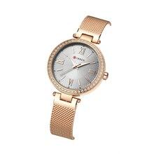 CURREN Luxury Brand Woman Watch 2019 Rhinestone Female Watches Stainless Steel Unique Dial Hardlex Quartz Wrist
