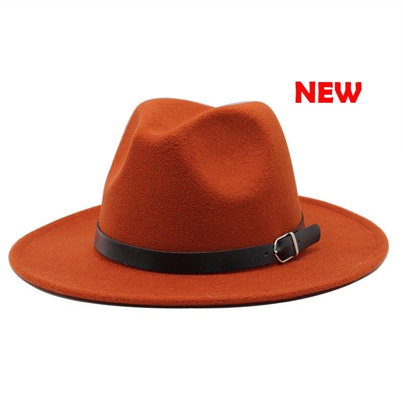 Classic British Fedora Hat Men Women Imitation Woolen Winter Felt Hats Fashion Jazz Hat Chapeau Wholesale 16