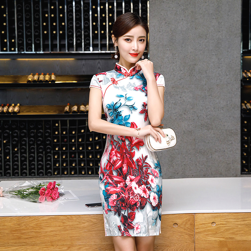 Sheng Coco Short Silk Cheongsam Qipao Floral Dresses Womens Dress Mini 3d Digital Printing Stage Show Chinese Formal Qi Pao
