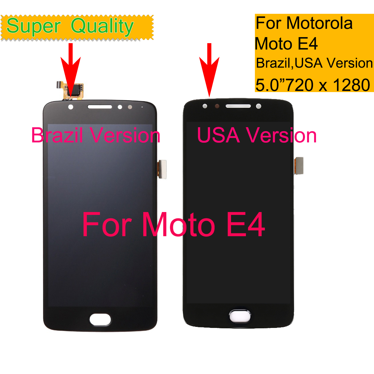 <font><b>LCD</b></font> Display For Motorola Moto E4 XT1763 <font><b>XT1762</b></font> XT1772 <font><b>LCD</b></font> Display Touch Screen Panel with Digitizer Assembly Replacement image