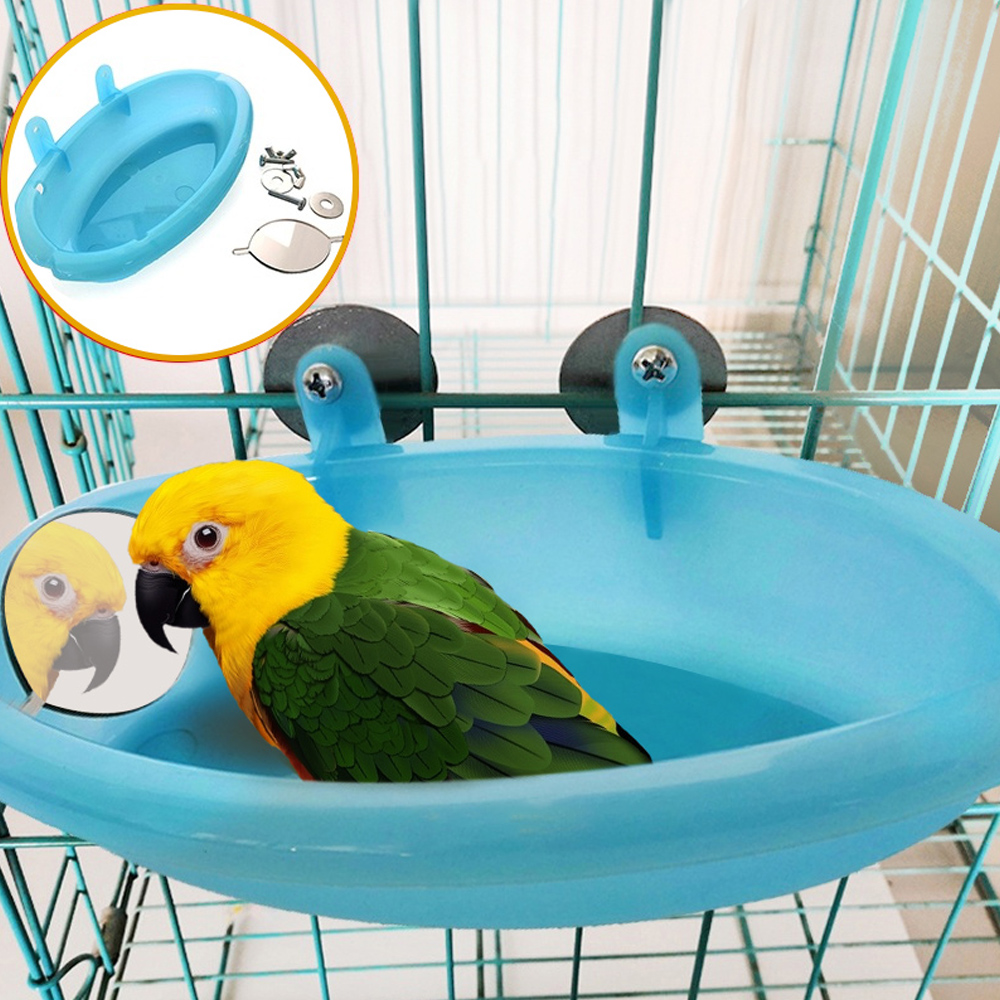 Parrot Bathtub With Mirror font b Pet b font Cage Accessories Bird Mirror Bath Shower Box