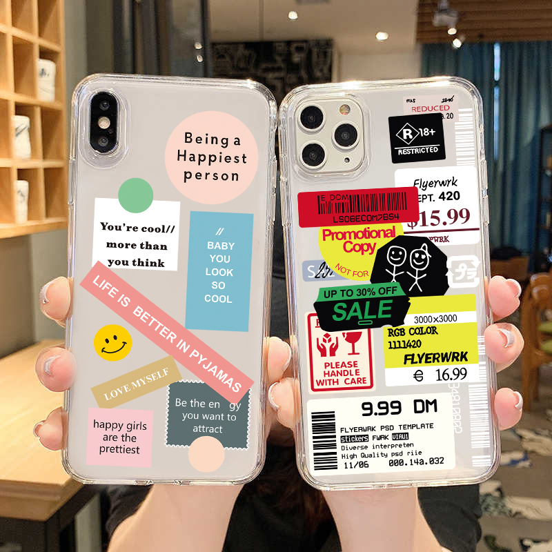 Retro Bar Code Label Phone Case For iPhone 12 Mini 11 Pro XS Max X XS XR 7 8 Plus Soft Cover Case For iPhone 12Pro 11Pro SE 2020