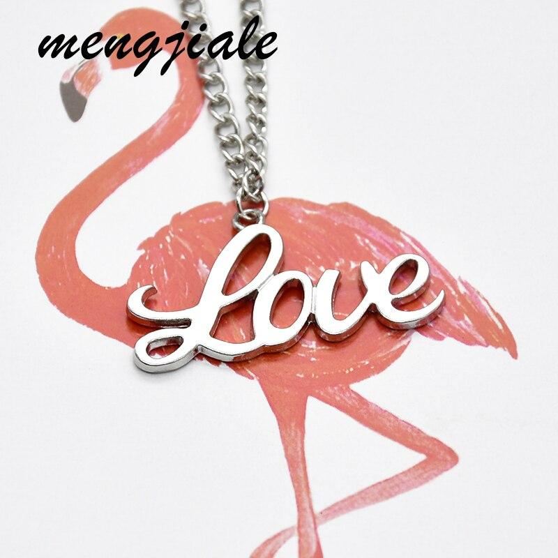 1 шт. модное ожерелье с подвеской с надписью LOVE для женщин 70 см антикварные серебряные цепочки из сплава ювелирные изделия