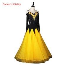 Filles robe de danse de salon femmes vêtements de danse de salon sexy spandex pierres robe de danse de salon pour vêtements de danse S 6XL