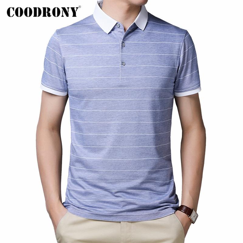 COODRONY Brand Short Sleeve T Shirt Men Spring Summer Fashion Striped Turn-down Collar T-Shirt Men Cotton Tee Shirt Homme C5002S
