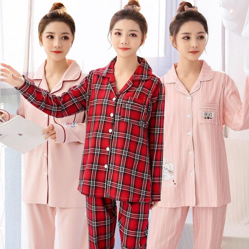 Autumn Winter Maternity Sleepwear Pregnancy Loungewear Korean Cotton Plus Size Pijama Lactancia Breastfeeding Pyjama Set