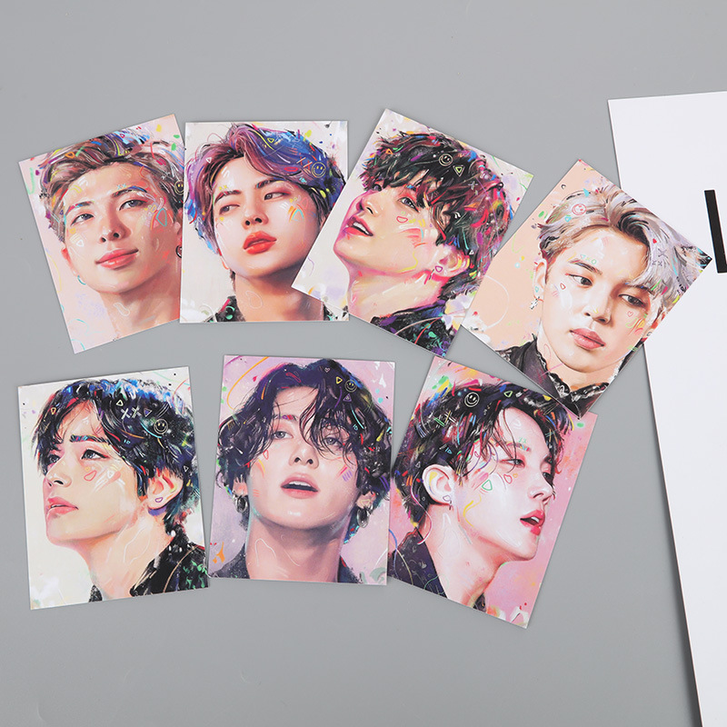 70 Pcs/lot Kpop Suga Jimin Rm Jungkook V Jin Jhope Oil Painting Small Card KPOP BOYS Little Postcard Toy Gift