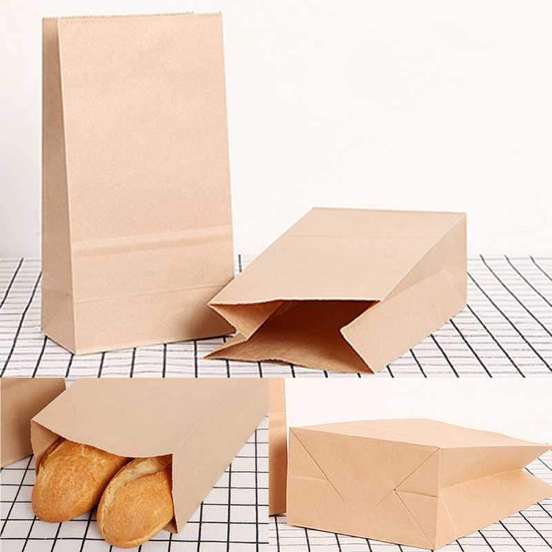 50pcs/lot Kraft Paper Bags Food Tea Small Gift Bag Sandwich Bread Bags Party Wedding Supplies Wrapping Gift Takeout Bag