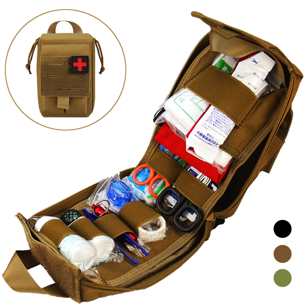 Tactical Molle First Aid Kit Survival Bag 1000D Nylon Emergency Pouch Military Outdoor Travel Waist Pack Camping Lifesaving Case
